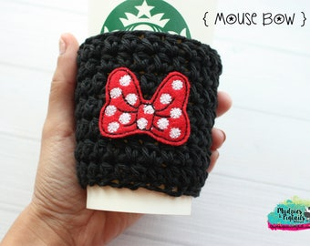 Mouse Ears Day Crochet Coffee Sleeve { Mouse Bow } classic minnie black, red, polkadot bows cup cozy, knit mug sweater, mug holder