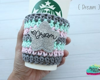 Coffee Cozy { Dream } star, glitter silver, spring easter striped, gray, pink blue coffee cup cozie sleeve, mug starbucks water bottle