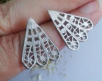 Lace Earrings - Sterling Silver Lace Earrings - Lace Earrings Sterling Silver - Triangle Silver Earrings - Lace Studs Sterling Silver