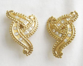 Vintage RETRO Abstract Gold Tone and Rhinestones Earrings