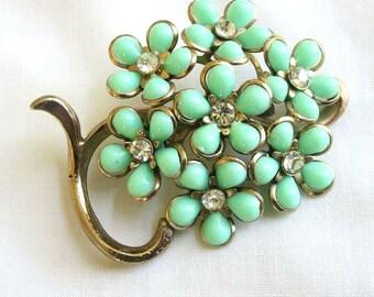 Vintage Green Molded Plastic and Rhinestones Flower Brooch