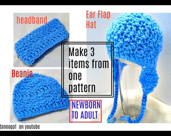 SPECIAL OFFER- Crochet Pattern - Beanie Hat, Headband, Ear Flap Hat, baby, toddler, teen, adult, all sizes included, video demo, #2057