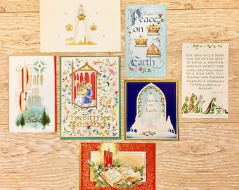 7 Vintage Christmas Peace on Earth Cards, Religious Christmas Cards, 1940s-1960s Christmas Religion