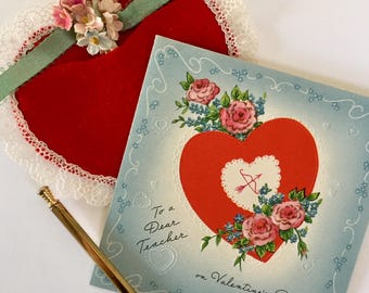 Gorgeous Vintage 1940s Valentine Card with Heart and Arrow, Pink Roses, Hearts, Valentine for Teacher, NOS