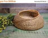 ON SALE Vintage SWEETGRASS Basket- Handmade Coiled Basket- Charleston Sc- Basketmaking Tradition- Gullah Sweet Grass Bowl- E8