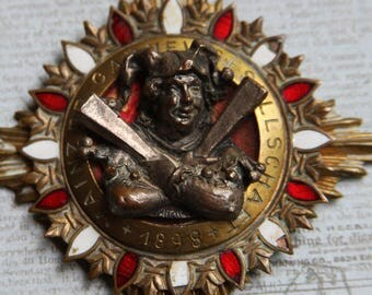 Antique GERMAN CARNIVAL Badge- 1898 with Jester- Tin Metal Found Object- AD Schwerdt Stuttgart- Collectible Bronze Medal