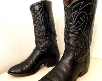 Black Rockabilly Western style Justin brand cowboy boots size 8.5 D or cowgirl size 10