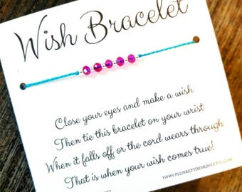 Wish Bracelet - Available In Over 100 Different Colors!!!  (Hot Pink Crystals)