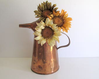 Copper Oil Can Vintage Oil Can with Spout Farmhouse Decor Patina 1930's Oil Can