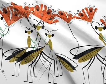 Praying Mantis Fabric - The Lily Farmers By Chickoteria - Praying Mantis White Cotton Fabric By The Yard With Spoonflower