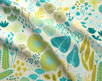 Modern Botanical Fabric - Botanical Garden By Friztin - Floral Botanical Mod Home Decor Cotton Fabric By The Yard With Spoonflower