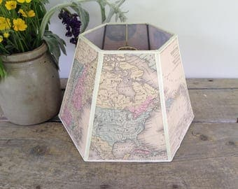 Antique Map Lampshade, Hex Uno Lamp Shade for Bridge Lamp, from 1868 book, Lovely Graphics, Authentic Look, Great for Library, Standard Size