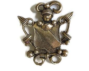 Knight in Armor Heraldic Shield Brooch Vintage