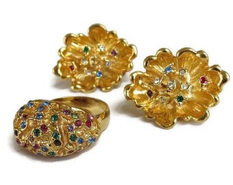 Multi Color Rhinestone Earrings and Ring Set Vintage Adjustable