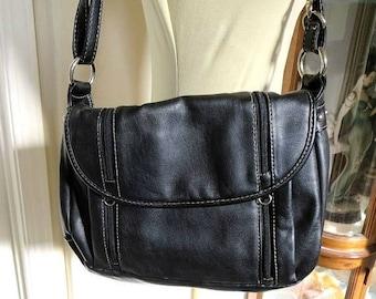 SALE Black Multi Pocket Purse or Shoulder Bag Vintage by Alfred Dunner