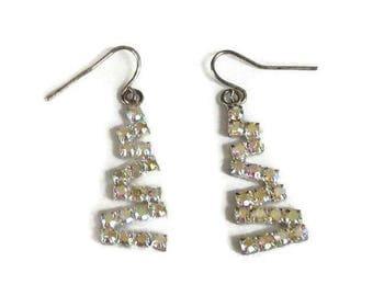 SALE Aurora Borealis Rhinestone Zig Zag Dangle Earrings Vintage