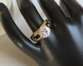 SALE Clear CZ Cubic Zirconia Engagement Ring Vintage Open Band Size 6.75