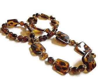 SALE Leopard Spots Lucite Beaded Necklace Vintage Beads