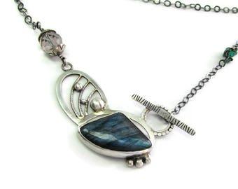 Blue Labradorite Necklace - Long Gemstone Necklace - Statement Necklace - Labradorite Pendant - Antiqued Gemstone Necklace - Modern Jewelry