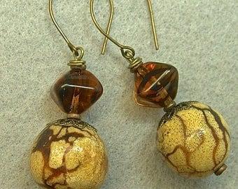Vintage Tiger Coral Bead Dangle Drop Earrings, Vintage Japanese Amber Black Glass,Brass Handmade Ear Wires
