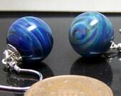 Reserved for Duree Nagle - Blue Neptune - Little Alien Planet Dangling Earrings SRA  - Handmade Glass
