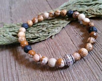Aromatherapy Stretch Bracelet Natural Gemstone Lava Stone Essential Oil Picture Jasper Brown Tan Bead Jewelry
