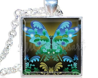 """25% OFF - Neon Butterfly 1"""" Square Glass Pendant or with Necklace - SQ153"""