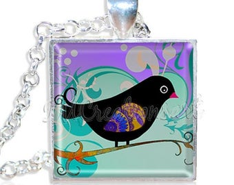 "20% OFF - Whimsy Birdie 1"" Square Glass Pendant or with Necklace - SQ172"