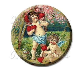 "20% OFF - Cherubs Angels Finding Hearts Pocket Mirror, Magnet or Pinback Button - Shower Favors, Bridesmaid, Wedding 2.25""- MR314"