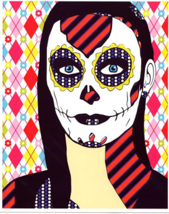 sugar skull girl digital art print Day Of The Dead abstract art skeleton woman zombie goth di de los muertos pop artwork