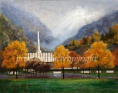 Reserved for Cameron- Provo Temple in Autumn- 18 x 24