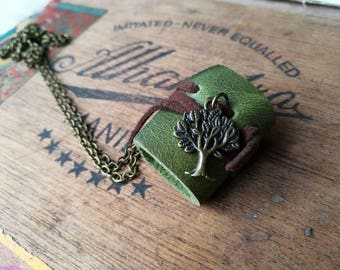 SALE 50%MiniatureBook Tree Green leather