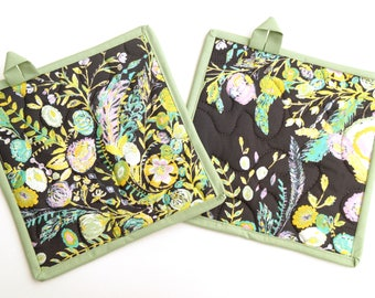 Floral Quilted Pot Holders Set of Two in Matte Black, Pink, Blue and Green