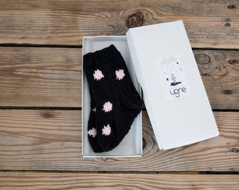 Knit Baby Socks | Polka Dot Socks | Newborn Socks | Soft Wool Socks | Black Baby Booties | Baby Shower Gift | Stockings Filler | Photoprop