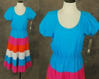 CLEARANCE SALE vintage 80s Colorblock Dress - 1980s Rainbow Tiered Fiesta Dress Cotton Party Dress Sz M