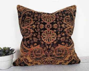 Black Tan Southwestern Pillow Cover, Textured Cabin Pillows, Persian, Lodge Pillow, Brown Rust Orange Tan Blue, 12x18, 18x18, 20x20, NEW
