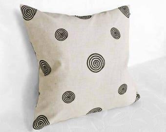 Taupe Pillows, Linen Pillow, Throw Pillows, Decorative Pillows, Taupe Cushions, Taupe Black, Embroidered, Circles, Lumbar 12x18, 18, 20, 22