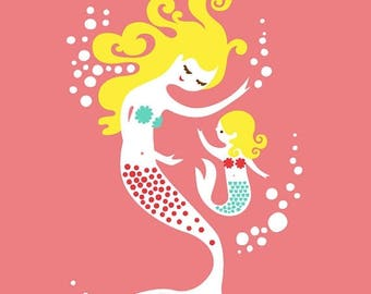 "SUMMER SALE 11X14"" mermaid mother & daughter giclee print. pink, teal blue, blonde."