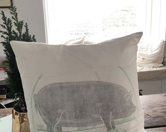 Pig pillow cover vintage fabric