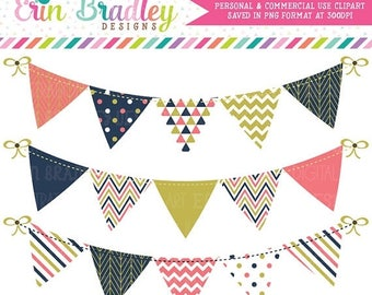 50% OFF SALE Bunting Clipart Graphics in Coral Navy Blue & Gold, Banner Flag Clip Art Graphics