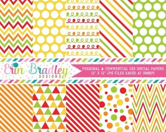 50% OFF SALE Autumn Digital Paper Pack in Red Green Orange & Yellow Chevron Stripes Polka Dots and Triangles Commercial Use Instant Download