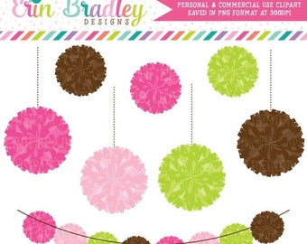 50% OFF SALE Preppy Pom Pom Garland Clipart Commercial Use Digital Clip Art Graphics