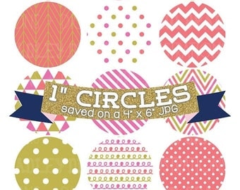 "50% OFF SALE Digital Collage Sheet 1"" Digital Bottlecap Images Pink Gold Coral Patterns Personal & Commercial Use One Inch Circles"