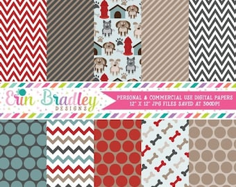80% OFF SALE Puppy Dog Party Digital Paper Pack Commercial Use Instant Download