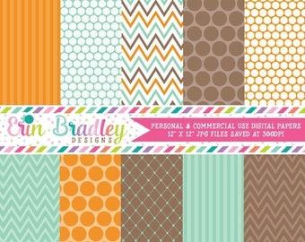 80% OFF SALE Aqua Blue Orange Brown Digital Paper Set Polka Dots Stripes Chevron Stripes Digital Paper Pack Personal and Commercial Use
