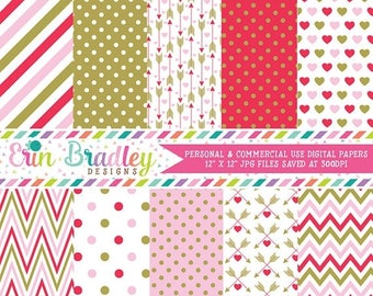 80% OFF SALE Pink & Red Valentines Day Digital Paper Set Holiday Digital Paper Graphics Hearts Arrows Chevron Stripes Instant Download