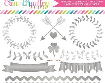 80% OFF SALE Silver Foil Clipart Graphics Instant Download Silver Vines Bunting Borders & Frame Clip Art Graphics