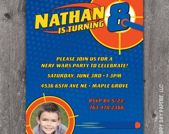 Dart Gun - Custom DIGITAL Birthday Party Photo or No Photo Invitation, any age