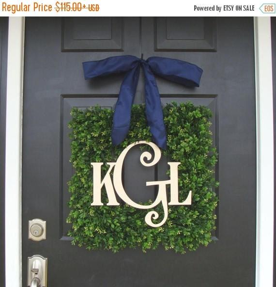 SUMMER WREATH SALE Boxwood Wood Monogram Christmas Wreath- Holiday Wreaths- Monogram Wreath- Holiday Decor- Christmas Decor- Christmas