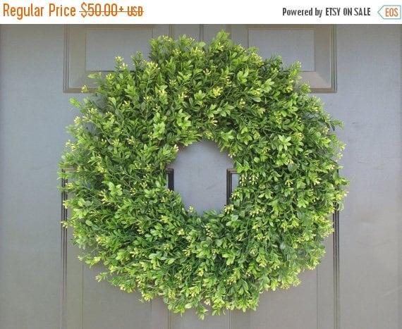 SUMMER WREATH SALE Faux Thin Artificial Boxwood Wreath, Storm Door Wreaths, Front Door Outdoor Wreath,  Front Door Decor, Sizes 14-24 inch a
